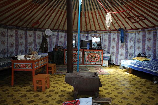 Yurt set indefra i Mongoliet