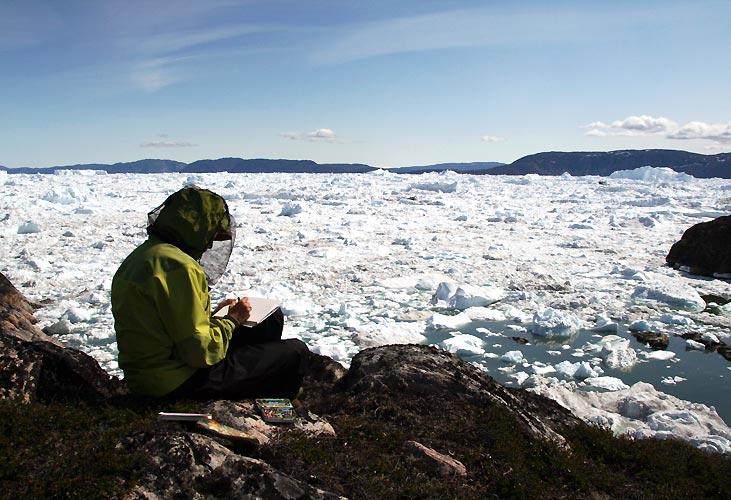 Helle og Toni ved isfjorden i Grønland
